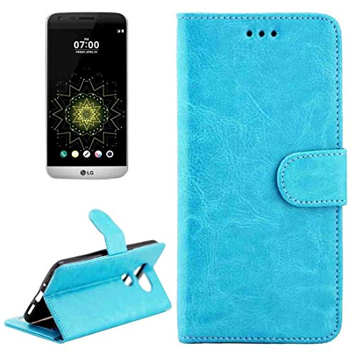 ZHENGYAQI-PHONE CASE Telefonkasten for lg g5 / h850 / h830 horizontal flip magnetische Ledertasche mit Brieftasche Leder-Etui (Color : Blue)