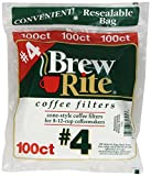 Brew Rite #4 Cone Coffee Filters, White Paper, 100-Count Bags (Pack of 8)