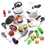 CUTE STONE Kids Kitchen Toys, Pretend Play Kitchen Toy Sets Includes Pressure Pot and Pans,Cutting Play Food and Cooking Utensils Accessories,Learning Gift for Toddlers Baby Girls Boys
