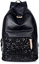 MINALO NEW Fashion Women Backpack Big Crown Embroidered Sequins Backpack Wholesale Women Leather Backpack School Bags Black
