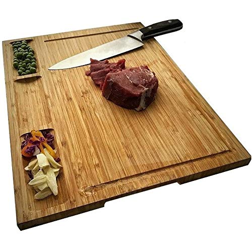 NIUXX Bambus Schneidebrett mit Saftrille, Premium Schneidbrett 43 x 32 x 1.8 cm Großes Holz-Brett Küche, Antibakterielles Wende Holzbrett mit 3 Eingebaute Fächer, Ideal für Fleisch und Gemüse