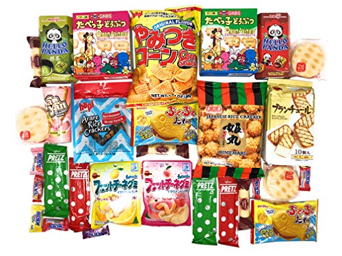 Deluxe Japanese Snack Box 30 Counts Individual Wrapped Essentials Sample Packs of Candy, Snacks, Chips, Cookies, Treats for Kids, Children, College Students, Adult and Senior in Fusion Select Gift Box
