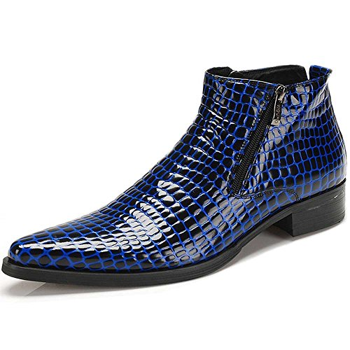 Fulinken Genuine Leather Pointed Toe Chat Zip Men Formal Shoes Dress Boots Ankle Boots (9 D(M) US, Glossy Blue)