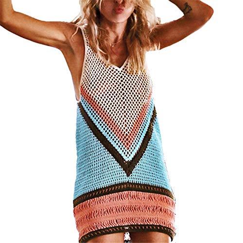 Vestido suelto de mujer Traje de baño de las mujeres Vestido de la ropa de playa Chaleco de rejilla Camisetas sin mangas Traje de baño Cubrir Sin mangas Crochet Cubrir la playa Traje de baño de vacaci