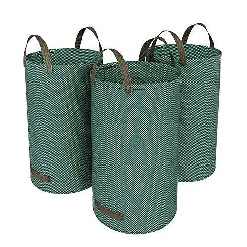 SONGMICS Bolsas para Desechos de jardín, Saco para Residuos, 3 Unidades, 120L, Verde GTS120L