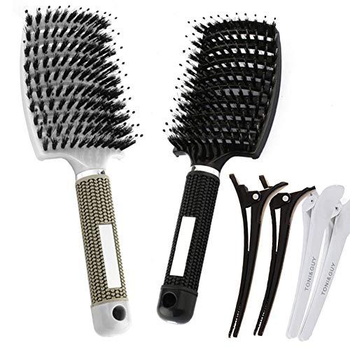PetKids Haarbürste aus Wildschweinborsten mit 4 Haarnadeln, natürliche Borsten, zum Verteilen von Haaröl, Kurve, Damen, zum Stylen und Entwirren (Schwarz und Silber)