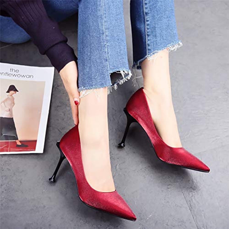 HOESCZS Rote Hochzeit Schuhe weiblich 2019 Frühling und Herbst Neue Spitze Satin Stiletto High Heel Katze mit flachen Mund einzelne Schuhe Flut