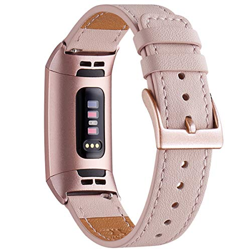 WFEAGL Armband Kompatibel für Fitbit Charge 3 Armband/Fitbit Charge 4 Armband Leder, Klassisch Einstellbares Ersatzarmband Sport Kompatibel für Fitbit Charge 3/4(Rosa Sand+Roségold Adapter)