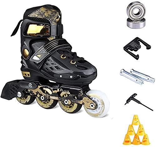 TAIDENG Patines de ruedas ajustables al aire libre para niños con ruedas LED de luz completa, patines en línea de oro blanco para niñas y niños, hombres y mujeres