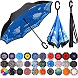 8. BAGAIL Double Layer Inverted Umbrella Reverse Folding Umbrellas Windproof UV Protection Big Straight Umbrella for Car Rain Outdoor with C-Shaped Handle (Blue Sky)
