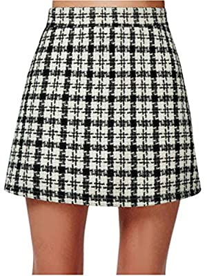 PERSUN Red Short Plaid A-line Mini Skirt
