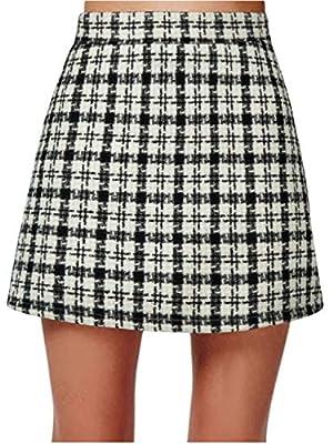 PERSUN Red Short Plaid A-line Mini Skirt