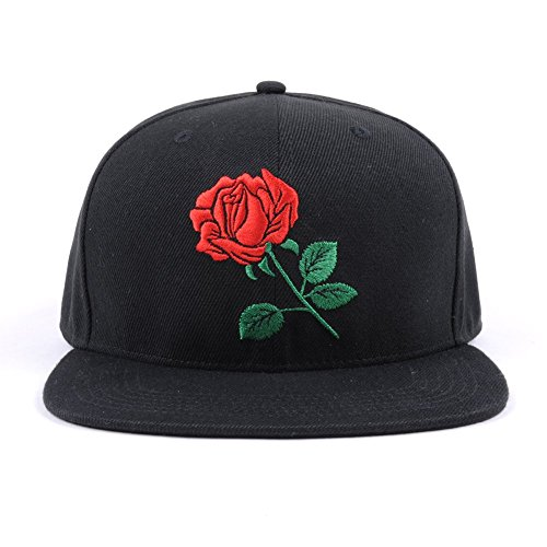 AUNG CROWN Rose Embroider Flat Bill Snapback Hats Women Men Snap Back Caps Black