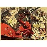 yitiantulong Anime Giapponesi Trigun Poster Adesivi Murali Poster retrò Stampe Ad Alta Definizione per Soggiorno Decorazione Domestica A323 (50X70Cm) Senza Cornice