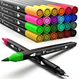 Coloring Markers for Adult Coloring Books Fine Tip 24 Dual Brush Pens...