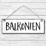 Balkonien - Balkon Dekoschild Türschild Wandschild aus Holz 10x30cm - Holzdeko Holzbild Deko Schild