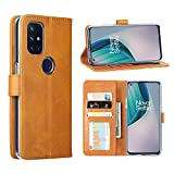 DDJ case for Oneplus Nord N10 5G,Cover Flip TPU&PU Leather Case with Kickstand, Multi-Function Magnetic Suction Strong Closure Wallet Phone Case for Oneplus Nord N10 5G (Yellow)