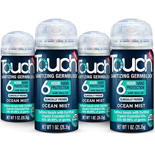 Touch Germ Block Spray Moisturizing Hand Sanitizer Travel Size 4-Pack, 1 Ounce Each (Ocean Mist)