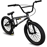 Micargi MBX Cape 20 Sidewalk BMX Bike for-Kids, Children and Beginner-Level to Advanced Riders, 20-inch Wheels, Hi-Ten Steel Frame, Micro Drive 25x9T BMX Gearing (Matte Black)
