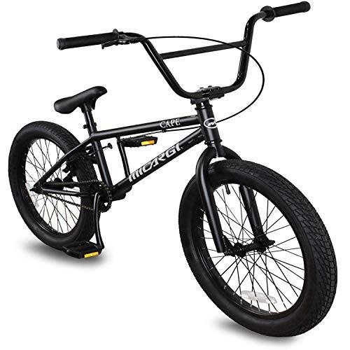Micargi MBX Cape 20 Sidewalk BMX Bike for-Kids, Children and Beginner-Level to Advanced Riders, 20-inch Wheels, Hi-Ten Steel Frame, Micro Drive 25x9T BMX Gearing (Matte Black)