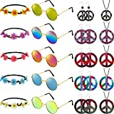 Set de 25 Pièces Accessoires Costume Hippie Déguisement des Années 60 et 70, Lunettes...