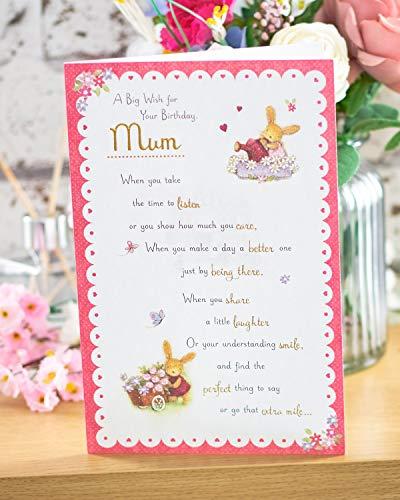 Mum Birthday Card - Birthday Card for Her - Cute Rabbit Design - Includes Lovely Heartfelt Message