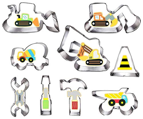 Construction Cookie Cutter Set-3 Inches-9 Piece- Excavator Digger Bulldozer Dump Truck Hammer Wrench Construction Tools Cutters Molds for Kids Construction Themed Party
