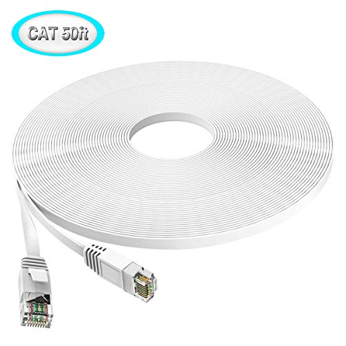 TBMax Cat6 Ethernet Cable 50 ft [with Cables Clips & Labels], Flat High Speed Cat 6 Network Patch Cable Fast Than Cat5/Cat5e, Long Slim Internet Computer Cord Snagless RJ45 Connectors 50 Feet White