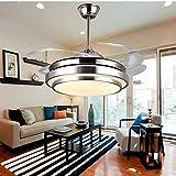 SDOPHH Lámparas de Ventilador de Techo Modernas Control Remoto 36 42 Pulgadas Oro Plata Led Lumiere Comedor Dormitorio Ventilador iluminación de Ventilador