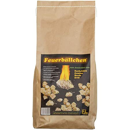 Feuerbällchen - Kaminanzünder, Feueranzünder, Feuerbällchen (Anzünder ökologisch, aus Naturprodukten - Wachs, Naturholz; Nässe unempfindlich; Brenndauer ca. 10 min) 2,5 kg Naturholz
