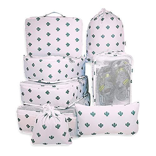 Rojeam Koffer Organizer Set 8-teilig Reisetasche in Koffer Wäschebeutel Aufbewahrungstasche Kleidertaschen Gepäck Aufbewahrung Taschen (Kaktus)