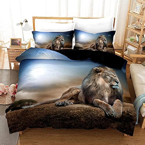 Bedclothes-Blanket Juego de sabanas Cama 150,Impresión de la Mano de Tres Piezas del Regalo de Cama Digital de león Digital-8_200 * 200
