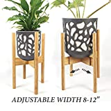 S SIYOI Adjustable Plant Stand for House, Raised Pot Stand, Interior Plant Stands, Wooden Plant Holder, Natural Bamboo Houseplant Stand, Fits 8 9 10 11 12 Inches, Stands for Plants Indoor Outdoor