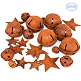 BIGPANDA 50PCS Rustic Metal Bells with Rusty Rust Pentagrams, Star-Shaped Original Look Christmas Bells, Used for Holiday Holiday Christmas Tree Decorations(50)