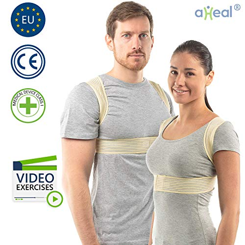 Haltungskorrektur Rücken Damen und Herren von aHeal | Geradehalter für eine gute Körperhaltung | Orthopädischer Geradehalter bei Skoliose und Kyphose | Linderung von Rückenschmerzen | Größe 5 Haut