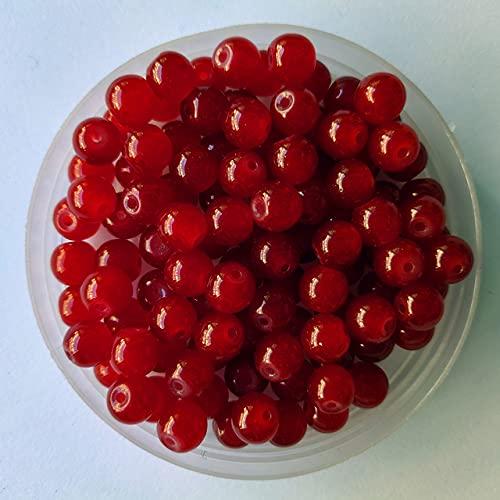 4 6 8 10 12 mm Siam Sapphire Cuentas redondas naturales Material de jade Cuentas de piedra sueltas de vidrio para bricolaje Pulsera Collar Fabricación de joyas-Siam, 12 mm 20 piezas