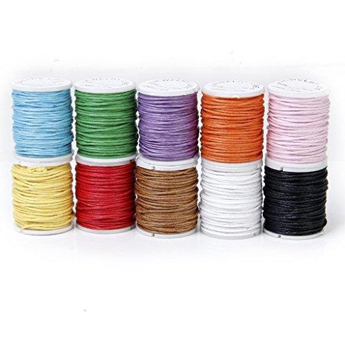 TOOGOO(R) 10 Rollos Hilo De Algodon Cuerda Encerado De Mezclamiento Del Color Para Cadena De Cuentas 1mm