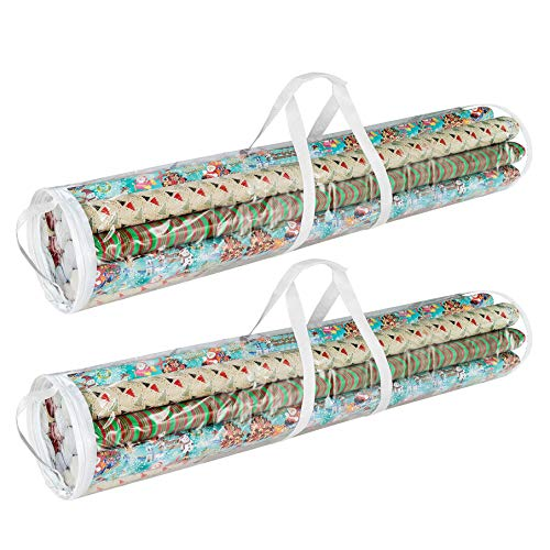 Elf Stor 83-DT5054 Gift Wrap Storage Bags Holds 40-Inch Rolls of Paper-2 Pack, Clear,X-Large