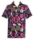 ALVISH - Camisas hawaianas de flamenco rosa para hombre, playa, fiesta, casual, acampada, crucero de manga corta -  Negro -  3X-Large