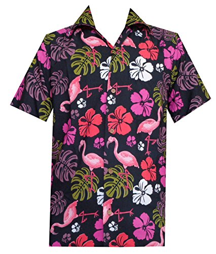 Alvish Hawaiian Camisa para hombre con estampado de hojas de flamenco en la playa Aloha Party Rich Negro Negro ( 3XL