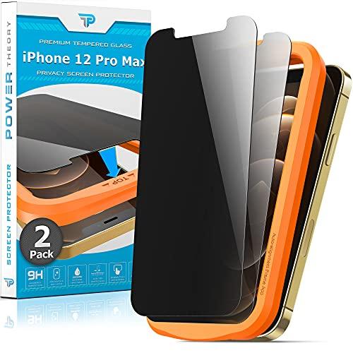 Power Theory Sichtschutzfolie für iPhone 12 Pro Max [2] - Panzerglas Sichtschutz mit Schablone, Blickschutzfolie, Anti-Spähen Panzerglasfolie, Panzerfolie, Privacy Glas Folie, Schutzfolie