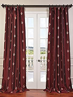 Half Price Drapes EFSCH-14086A-108 Embroidered Faux Silk Taffeta Curtain, Trophy Syrah