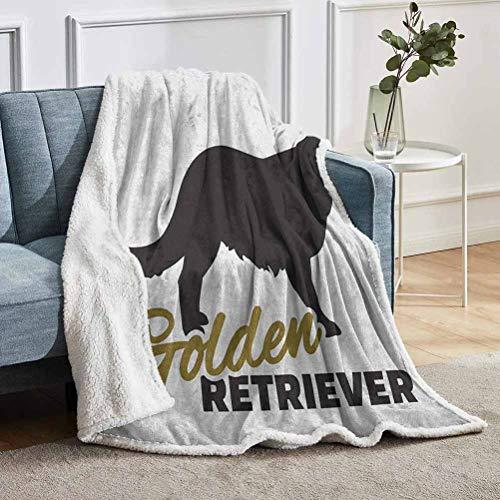 YUAZHOQI Manta de forro polar Golden Retriever con silueta negra de pura raza con inscripción a mano, forro polar difuso para sofá cama de 129 x 180 cm, color dorado y negro blanco