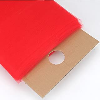 BBCrafts Red Glimmer Tulle Fabric 6 inch 25 Yards