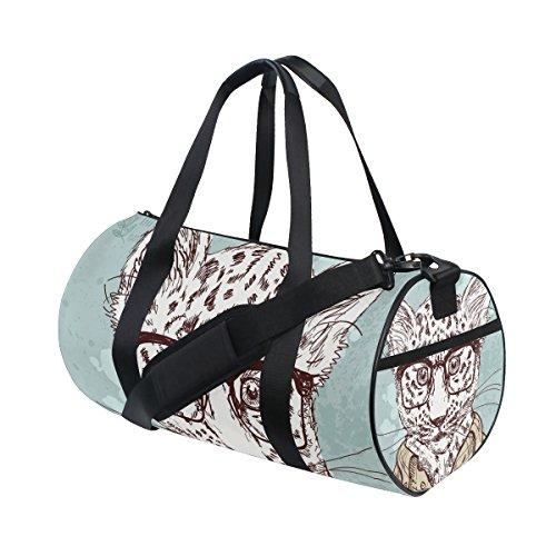 TIZORAX Hipster Leopard mit Brille und Anzug Fitnessraum Duffle Bag Drum Tote Reisetasche Rooftop Rack Tasche