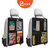 Trobo Backseat Car Organizer with 4 Large Storage Pockets, 2 Pack XL Kick Mat Back Seat Protectors, Thick Waterproof Seat Back Cover for Kids to Fully Protect Backseat from Dirt, Mud and Scuffs