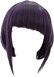 Short Straight Black Purple Wig Cosplay Anime Hero Costume Synthetic Hair Props Accessories Halloween