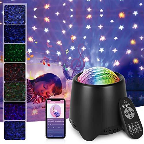 Opard Sternenhimmel Projektor, Sternenlicht Projektor mit Fernbedienung, USB Wasserwelle Sternenlicht Projektor, Nachtlicht mit Bluetooth Lautsprecher für Party Dekoration Schlafzimmer(Schwarz)