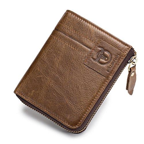 BULLCAPTAIN Herren Geldbörse Vintage Rindsleder Geldbörse mit Reißverschluss Tasche für Männer QB-030 - Braun - Klein