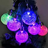 m·kvfa LED Transparent Ball LED Light Snowball Hanging Pendants Craft Waterproof Lamp Christmas Decor for Indoor Outdoor Wedding Party Holiday Garden Patio